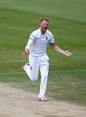 Ben Stokes of England celebrates taking the wicket of JP Duminy of South Africa caught behind during day four of the 4th Test at Supersport Park on...