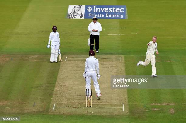Ben Stokes of England celebrates taking the wicket of Roston Chase of the West Indies during day one of the 3rd Investec Test Match between England...