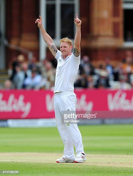 Ben Stokes of England celebrates the wicket of Kane Williamson of New Zealand during day five of the 1st Investec Test Match between England and New...