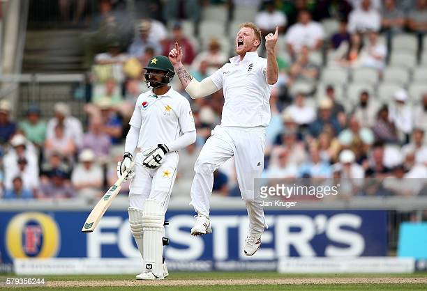 Ben Stokes of England celebrates the wicket of Younis Khan during day two of the 2nd Investec Test between England and Pakistan at Old Trafford on...