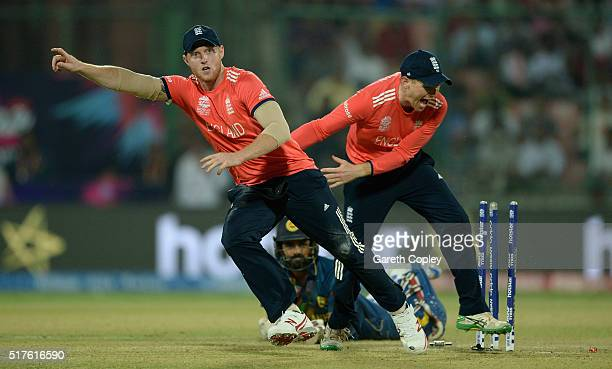 Ben Stokes of England celebrates with captain Eoin Morgan after running out Lahiru Thirimanne of Sri Lanka during the ICC World Twenty20 India 2016...