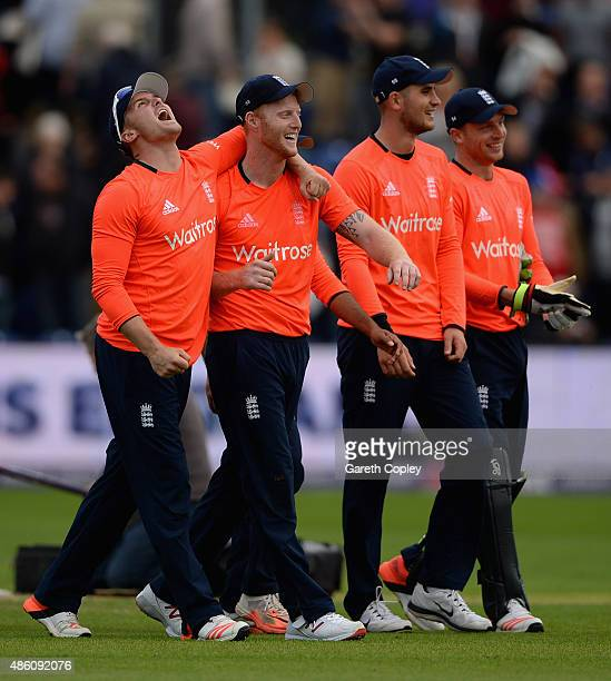 Ben Stokes of England celebrates with teammate Jason Roy after winning the NatWest T20 International match between England and Australia at SWALEC...