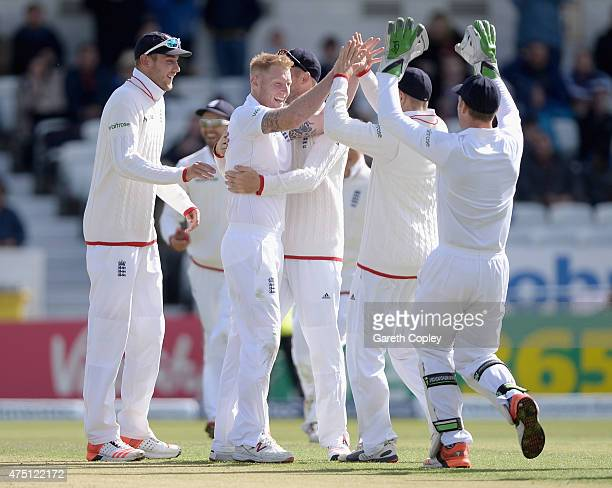 Ben Stokes of England celebrates with teammates after dismissing Brendon McCullum of New Zealand during day one of 2nd Investec Test match between...