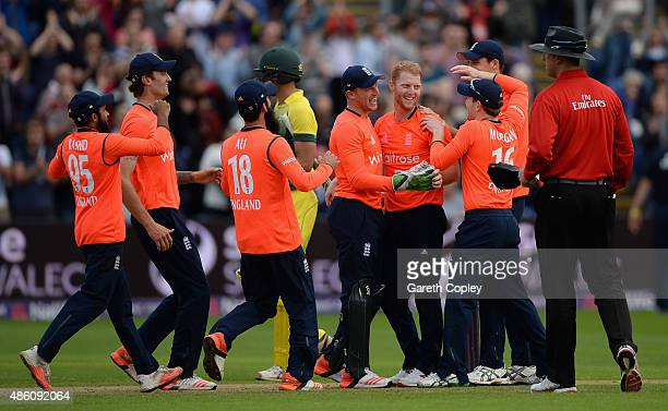 Ben Stokes of England celebrates with teammates after winning the NatWest T20 International match between England and Australia at SWALEC Stadium on...