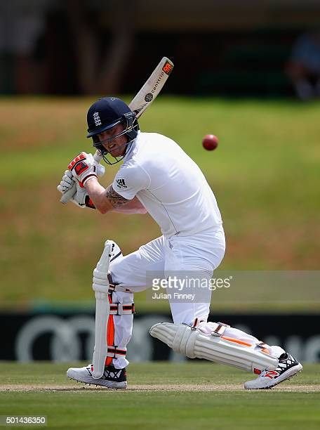 Ben Stokes of England cuts it away during day one of the tour match between South Africa Invitational XI and England at Senwes Park on December 15...