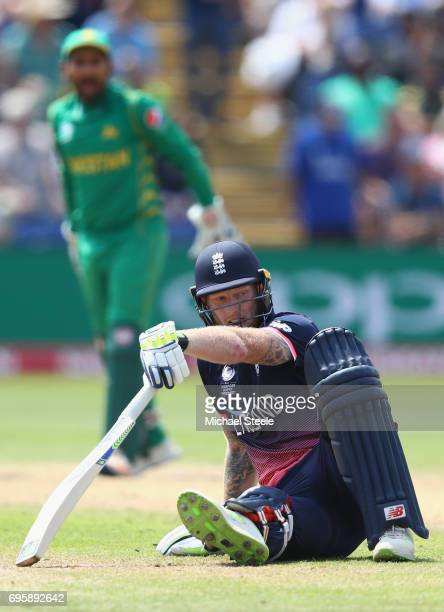 Ben Stokes of England falls over going for a second run during the ICC Champions Trophy SemiFinal match between England and Pakistan at the SWALEC...