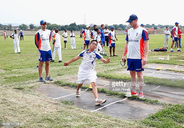Ben Stokes of England helps teach local children during a visit to Mamelodi Cricket Club on January 20 2016 in Mamelodi South Africa