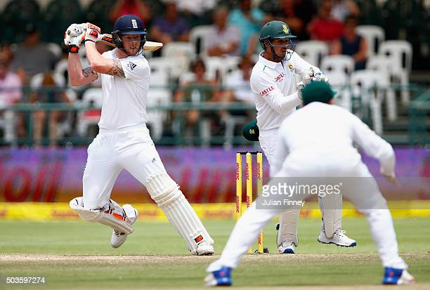 Ben Stokes of England hits out during day five of the 2nd Test at Newlands Stadium on January 6 2016 in Cape Town South Africa