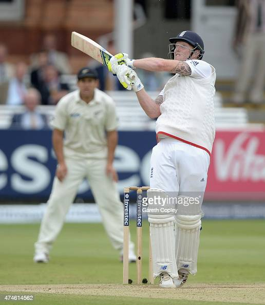 Ben Stokes of England hits out for six runs during day four of 1st Investec Test match between England and New Zealand at Lord's Cricket Ground on...