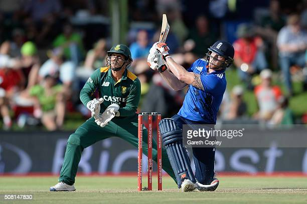 Ben Stokes of England hits out for six runs during the 1st Momentum ODI match between South Africa and England at Mangaung Oval on February 3 2016 in...