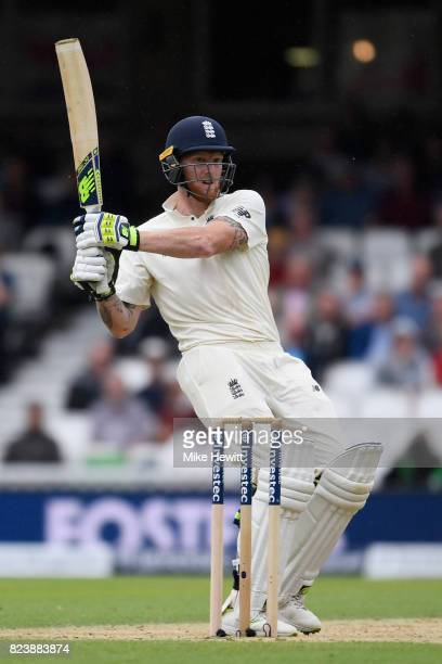 Ben Stokes of England hooks for four during Day Two of the 3rd Investec Test match between England and South Africa at The Kia Oval on July 28 2017...