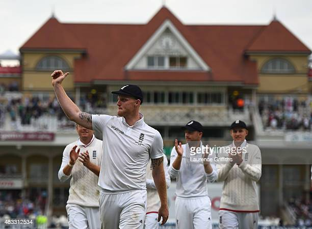Ben Stokes of England is applauded off the fied by players and fans after taking five wickets during day two of the 4th Investec Ashes Test match...
