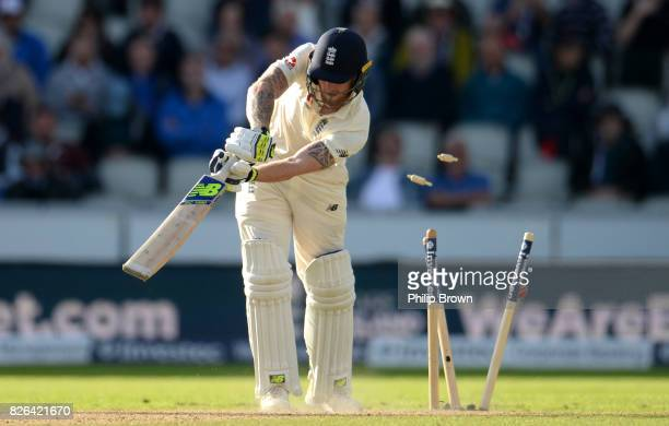 Ben Stokes of England is bowled by Kagiso Rabada of South Africa during the 4th Investec Test match between England and South Africa at Old Trafford...