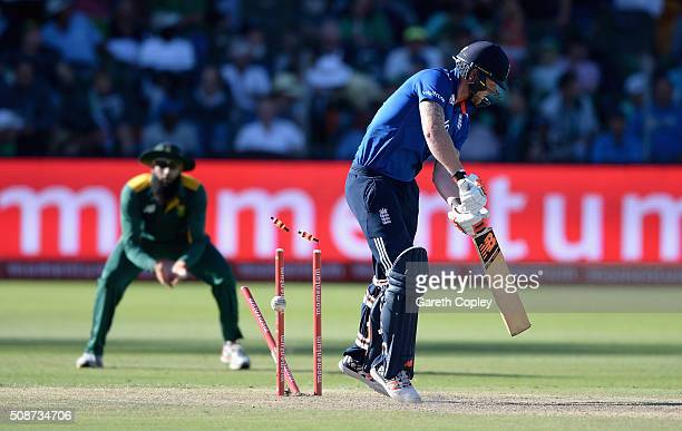 Ben Stokes of England is bowled by Morne Morkel of South Africa during the 2nd Momentum ODI between South Africa and England at St George's Park on...