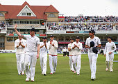Ben Stokes of England leads his team from the ground at stump after taking 5 wickets during day two of the 4th Investec Ashes Test match between...