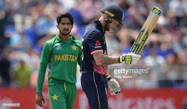 Ben Stokes of England leaves the field after being dismissed from the bowling of Hasan Ali of Pakistan during the ICC Champions Trophy match between...