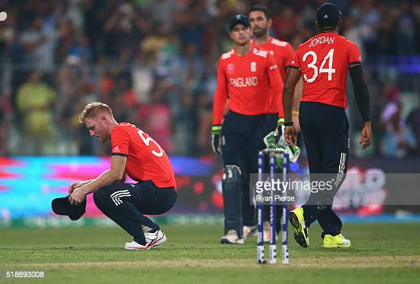 Ben Stokes of England looks dejected after West Indies scored the winning runs during the ICC World Twenty20 India 2016 Final match between England...