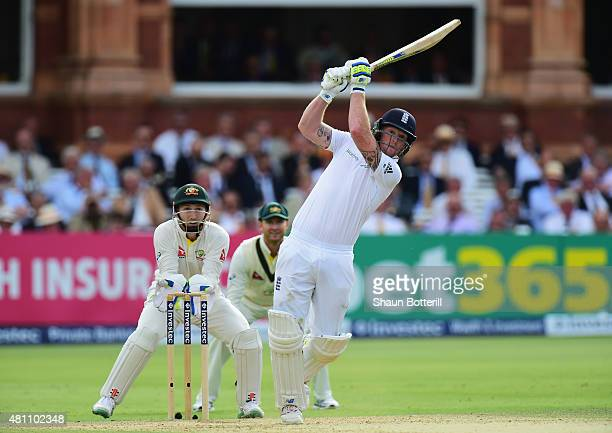 Ben Stokes of England plays a shot as Australia wicketkeeper Peter Nevill looks on during day two of the 2nd Investec Ashes Test match between...