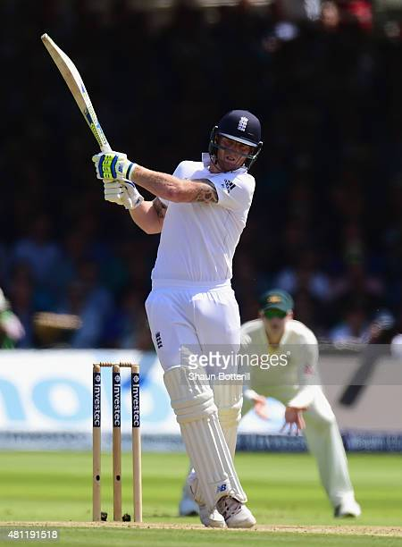 Ben Stokes of England plays a shot during day three of the 2nd Investec Ashes Test match between England and Australia at Lord's Cricket Ground on...
