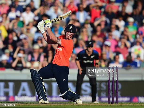 Ben Stokes of England plays a shot during the NatWest International Twenty20 match between England and New Zealand at Old Trafford on June 23 2015 in...