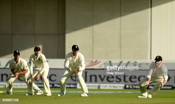 Ben Stokes of England prepares to catch Kagiso Rabada of South Africa as Alastair Cook Joe Root and Keaton Jennings look on during the second day of...