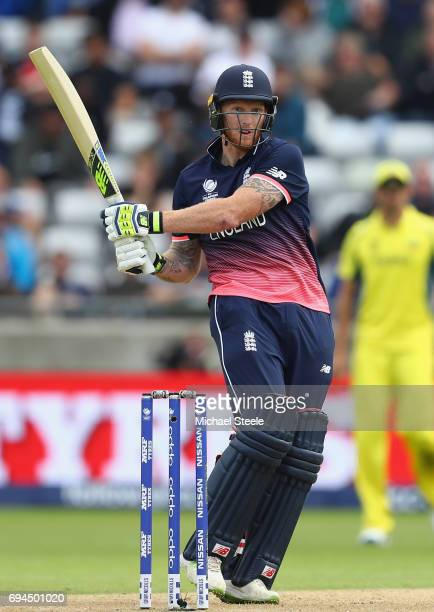 Ben Stokes of England pulls a delivery from Pat Cummins to the fine leg boundary during the ICC Champions Trophy match between England and Australia...