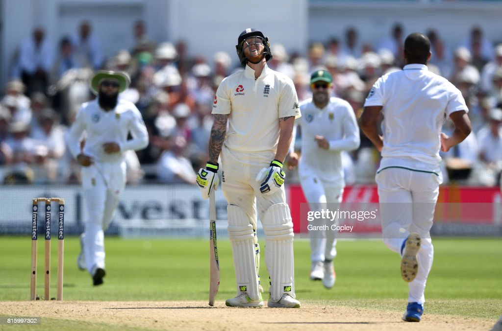 Ben Stokes of England reacts after being caught and bowled by Vernon Philander of South Africa during day four of the 2nd Investec Test match between England and South Africa at Trent Bridge on July 17, 2017 in Nottingham, England.