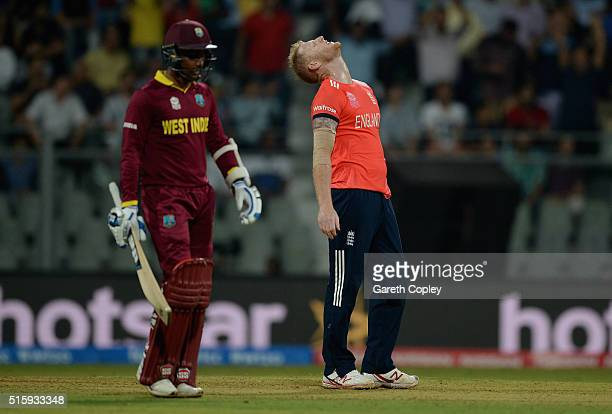 Ben Stokes of England reacts after being hit for six runs by Chris Gayle of the West Indies during the ICC World Twenty20 India 2016 Super 10s Group...