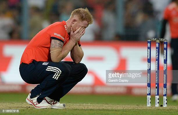 Ben Stokes of England reacts after being hits for six runs in the final over during the ICC World Twenty20 India 2016 Final between England and the...