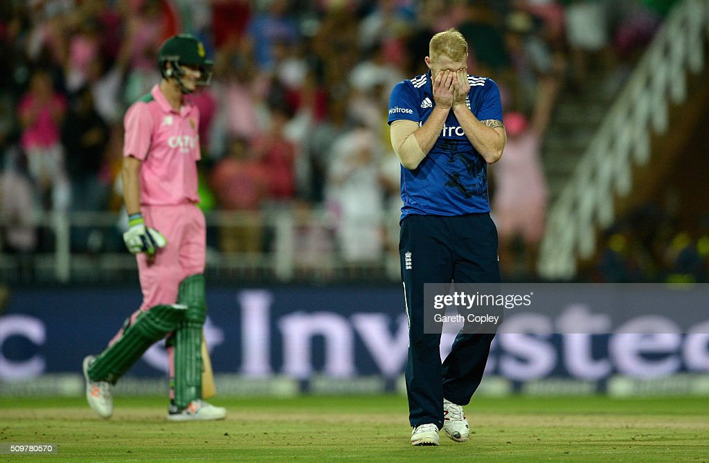 <a gi-track='captionPersonalityLinkClicked' href=/galleries/search?phrase=Ben+Stokes&family=editorial&specificpeople=6688979 ng-click='$event.stopPropagation()'>Ben Stokes</a> of England reacts after bowling during the 4th Momentum ODI between South Africa and England at Bidvest Wanderers Stadium on February 12, 2016 in Johannesburg, South Africa.