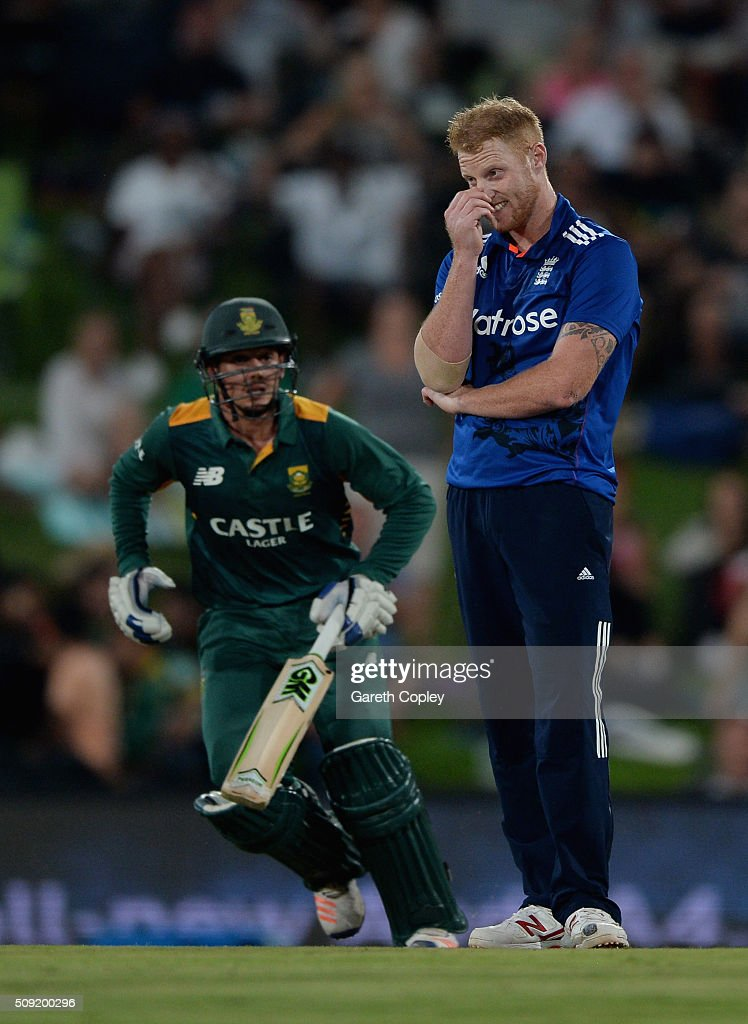 <a gi-track='captionPersonalityLinkClicked' href=/galleries/search?phrase=Ben+Stokes&family=editorial&specificpeople=6688979 ng-click='$event.stopPropagation()'>Ben Stokes</a> of England reacts as <a gi-track='captionPersonalityLinkClicked' href=/galleries/search?phrase=Quinton+de+Kock&family=editorial&specificpeople=7970706 ng-click='$event.stopPropagation()'>Quinton de Kock</a> of South Africa scores runs during the 3rd Momentum ODI match between South Africa and England at Supersport Park on February 9, 2016 in Centurion, South Africa.