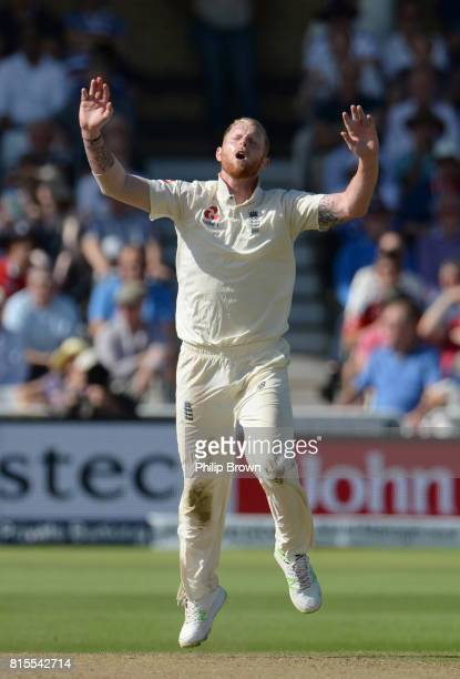 Ben Stokes of England reacts during the third day of the 2nd Investec Test match between England and South Africa at Trent Bridge cricket ground on...
