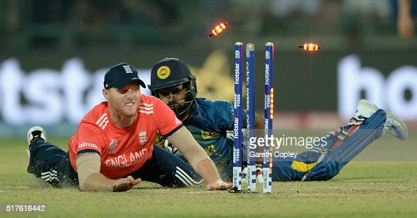 Ben Stokes of England runs out Lahiru Thirimanne of Sri Lanka during the ICC World Twenty20 India 2016 Group 1 match between England and Sri Lanka at...