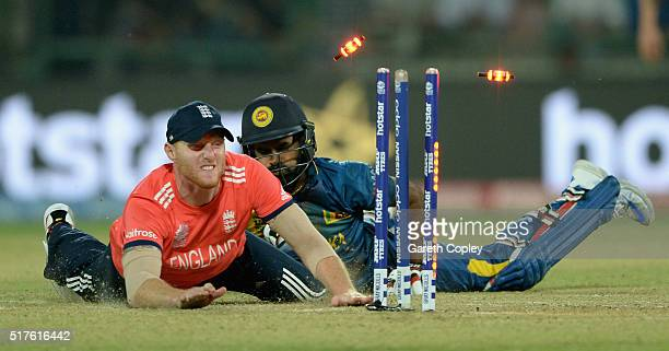 Ben Stokes of England runs out Lahiru Thirimanne of Sri Lanka during the ICC World Twenty20 India 2016 Group 1 match between England and Sri Lanka at...