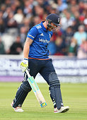 Ben Stokes of England shows his frustration after being given out for obstruction after Mitchell Starc of Australia threw the ball at the wicket of...