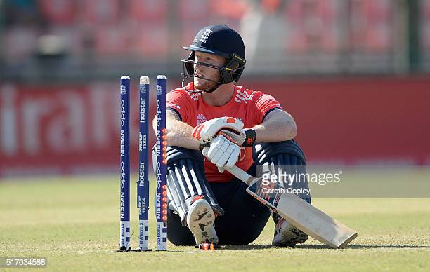 Ben Stokes of England sits on the ground after being bowled by Rashid Khan of Afghanistan during the ICC World Twenty20 India 2016 Group 1 match...