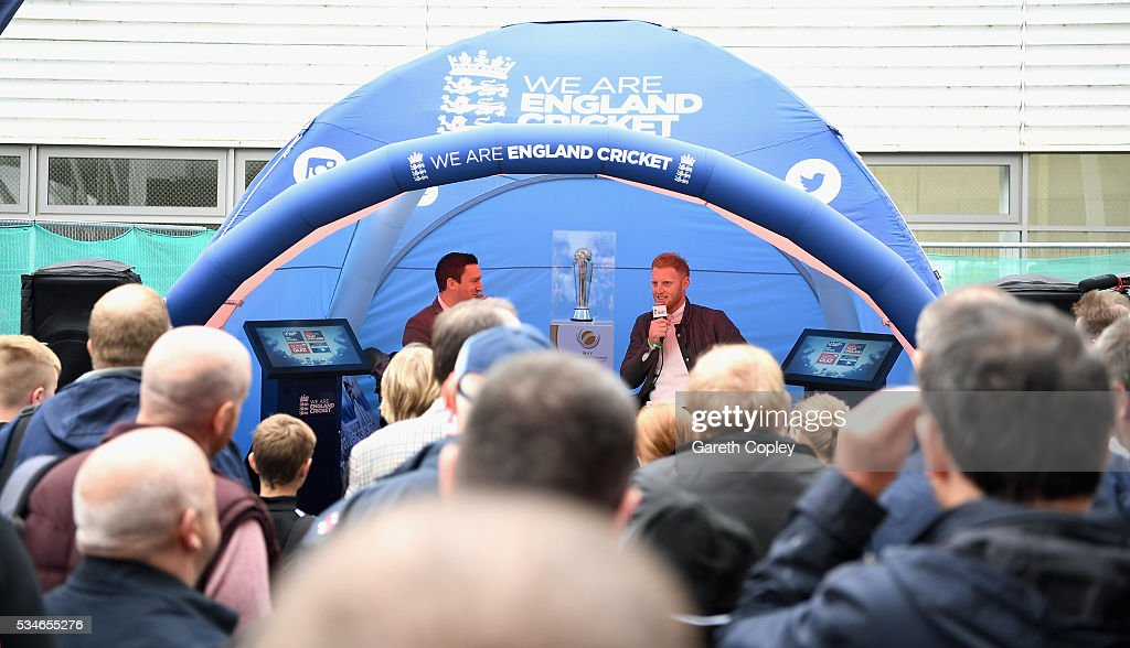 <a gi-track='captionPersonalityLinkClicked' href=/galleries/search?phrase=Ben+Stokes&family=editorial&specificpeople=6688979 ng-click='$event.stopPropagation()'>Ben Stokes</a> of England speaks to fans during a question and answer session at lunch on day one of the 2nd Investec Test match between England and Sri Lanka at Emirates Durham ICG on May 27, 2016 in Chester-le-Street, United Kingdom.