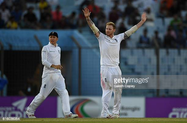 Ben Stokes of England successfully appeals for the wicket of Mushfiqur Rahim of Bangladesh during day two of the first Test between Bangladesh and...