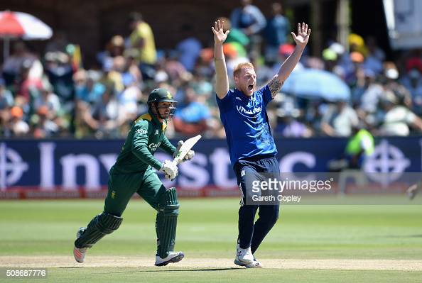 Ben Stokes of England successfully appeals for the wicket Quinton de Kock of South Africa during the 2nd Momentum ODI between South Africa and...