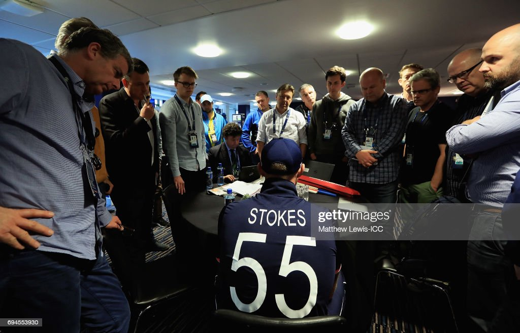 Ben Stokes of England talks to media after the ICC Champions Trophy match between England and Australia at Edgbaston on June 10, 2017 in Birmingham, England.