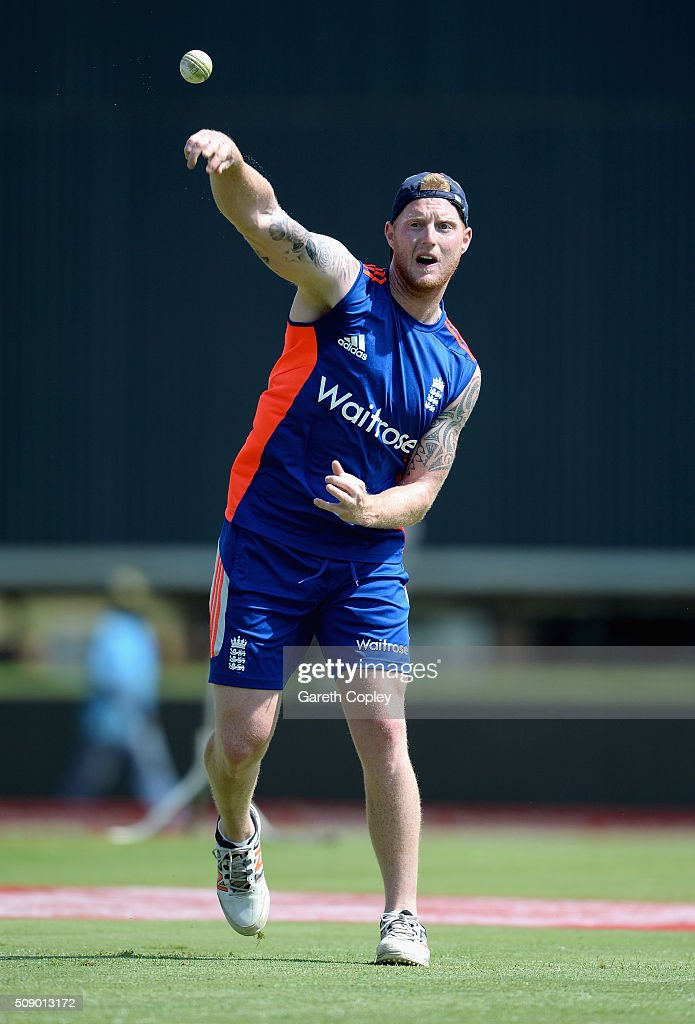 <a gi-track='captionPersonalityLinkClicked' href=/galleries/search?phrase=Ben+Stokes&family=editorial&specificpeople=6688979 ng-click='$event.stopPropagation()'>Ben Stokes</a> of England throws during a nets session at Supersport Park on February 8, 2016 in Centurion, South Africa.