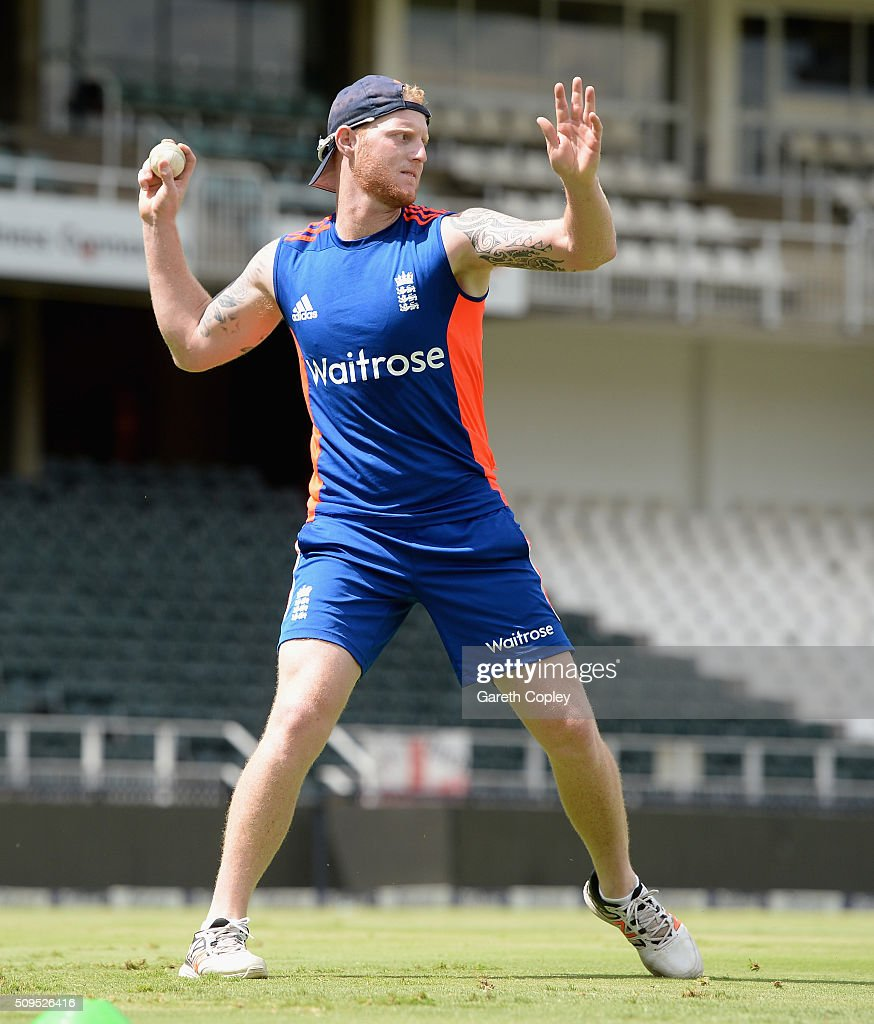 <a gi-track='captionPersonalityLinkClicked' href=/galleries/search?phrase=Ben+Stokes&family=editorial&specificpeople=6688979 ng-click='$event.stopPropagation()'>Ben Stokes</a> of England throws the ball during a nets session at Bidvest Stadium on February 11, 2016 in Johannesburg, South Africa.