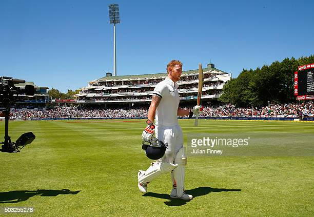 Ben Stokes of England walks off after his 258 runs during day two of the 2nd Test at Newlands Stadium on January 3 2016 in Cape Town South Africa