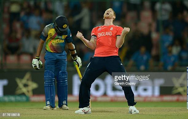 Ben Stokes of England winning the ICC World Twenty20 India 2016 Group 1 match between England and Sri Lanka at Feroz Shah Kotla Ground on March 26...