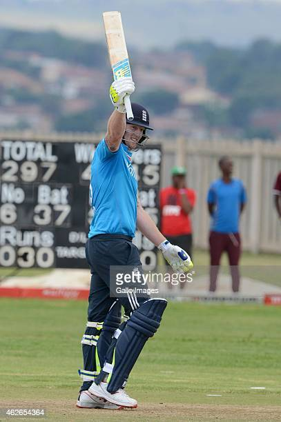 Ben Stokes of the England Lions celebrates his 100 runs during the 4th ODI match between South Africa A and England Lions at Mamelodi Oval on...