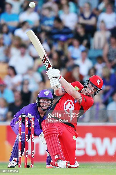 Ben Stokes of the Renegades hits the ball for six during the Big Bash League match between the Hobart Hurricanes and the Melbourne Renegades at...