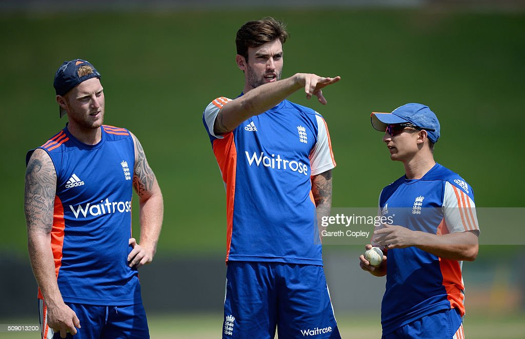 <a gi-track='captionPersonalityLinkClicked' href=/galleries/search?phrase=Ben+Stokes&family=editorial&specificpeople=6688979 ng-click='$event.stopPropagation()'>Ben Stokes</a>, Reece Topley and <a gi-track='captionPersonalityLinkClicked' href=/galleries/search?phrase=James+Taylor+-+Cricketer&family=editorial&specificpeople=7622826 ng-click='$event.stopPropagation()'>James Taylor</a> of England during a nets session at Supersport Park on February 8, 2016 in Centurion, South Africa.