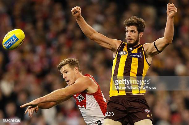 Ben Stratton of the Hawks and Luke Parker of the Swans compete for the ball during the 2016 AFL Round 09 match between the Hawthorn Hawks and the...
