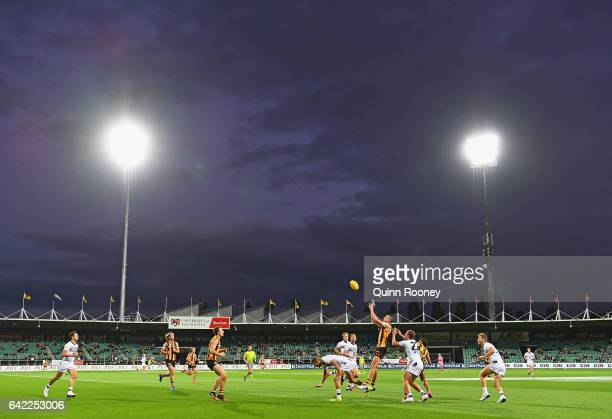 Ben Stratton of the Hawks marks during the 2017 JLT Community Series match between the Hawthorn Hawks and the Geelong Cats at University of Tasmania...