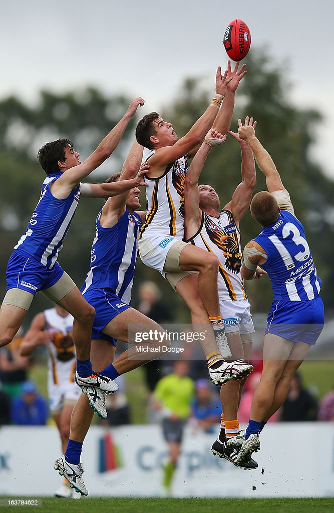 Ben Stratton of the Hawks marks the ball during the AFL NAB Cup match between the North Melbourne Kangaroos and the Hawthorn Hawks at Highgate Recreational Reserve on March 16, 2013 in Craigieburn, Australia.